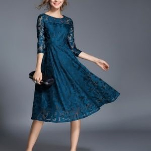 Yiso Dresses & Skirts - NWT Lace 3/4 Sleeve Fit & Flare Dress in Dark Teal
